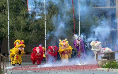 Multiple lions dancing around hanging strings of firecrackers